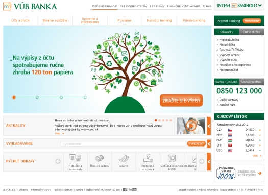 VÚB banka predstavila novú web stránku, má prepojenie na sociálne siete aj systém hodnotenia