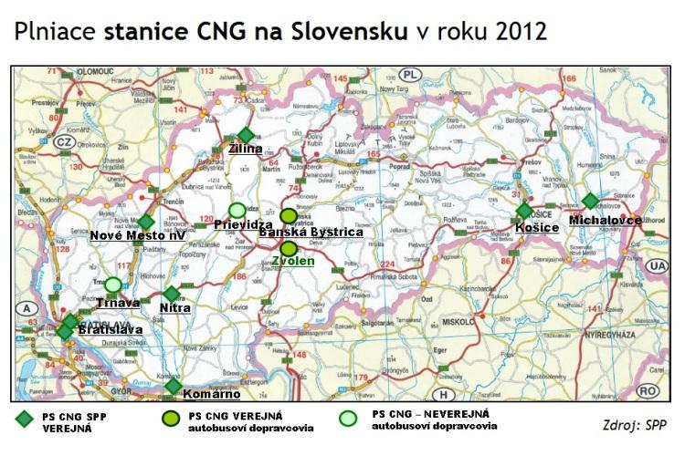 Okrem novootvorenejbratislavskej PS CNG vareáli SPP, spoločnosť SPP prevádzkuje ďalších sedem PS CNG vsamoobslužnom nepretržitom režime (Bratislava – Jurajov Dvor, Nitra, Košice, Žilina,Michalovce, Nové Mesto nad Váhom, Komárno). Koncom roku 2011 jazdilo na Slovensku celkom 1 069 vozidiel spohonom na CNG.