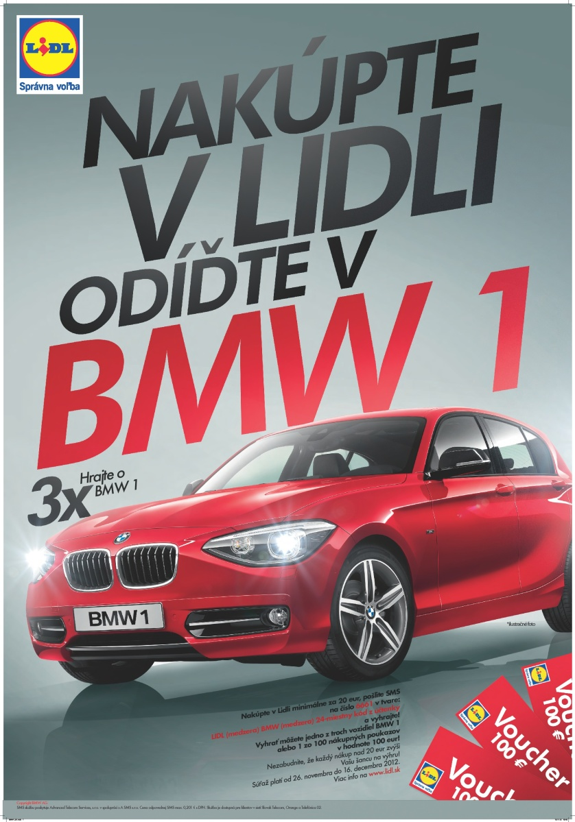 Lidl spúšťa SMS súťaž o 3 autá BMW a 100 nákupných poukazov, vstupenkou do hry je každý nákup nad 20 eur