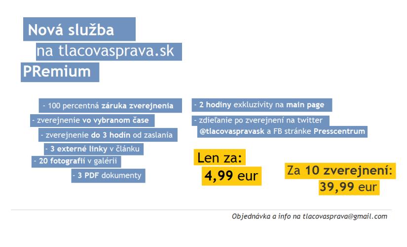 Uverejnenie tlačovej správy s linkami aj prílohami už za 4,99 eur! To je nová služba Premium na portáli tlacovasprava.sk
