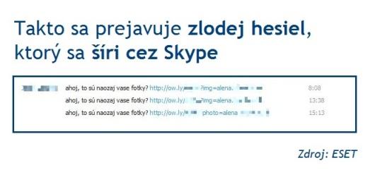 """Počítačový červ Dorkbot z prostredia Skype pošle správu vslovenčine vznení """"ahoj, to su naozaj vase fotky?"""" spolu sodkazom na súbor uložený na webe."""