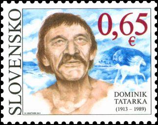 """Slovenská pošta vydáva známku """"Osobnosti: Dominik Tatarka (1913 – 1989)"""" snominálnou hodnotou 0,65 €"""