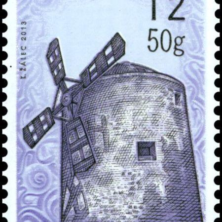 """Slovenská pošta, a. s., vydáva 26. apríla 2013 poštovú známku """"Technické pamiatky: Historické mlyny – veterný mlyn vHolíči"""