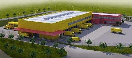 Vizualizácia nového logistického hubu. Firma DHL Express považuje Bratislavu za strategickú lokalitu pre stredoeurópsky trh a novo budovaný areál bude slúžiť ako distribučný uzol odbavujúci rastúci počet zákaziek v krajinách strednej Európy.