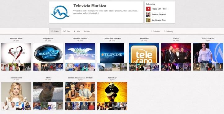"""V súčasnosti ponúka Markíza na Pintereste jedenásť rôznych """"násteniek"""", ktoré obsahujú fotografie z úspešných programov ako Búrlivé víno, Modré z neba, SuperStar, Televízne noviny či Teleráno."""