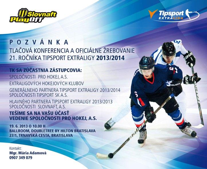 Pozvánka na žrebovanie Tipsport Extraligy 2013/2014