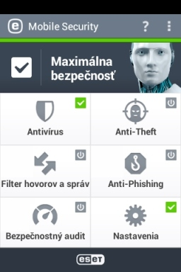 Hlavný panel ESET Mobile Security Android