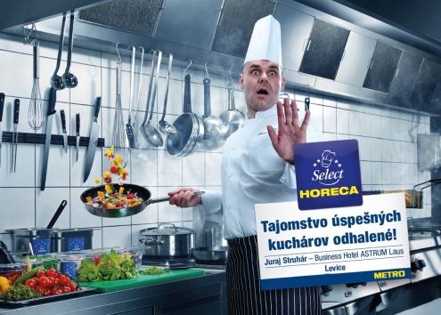 Namiesto kuchárskych celebrít ako tváre reprezentujúce značku Horeca Select vybrali skutočných zákazníkov - šéfkuchárov. Na fotografii: Juraj Struhár, Business Hotel ASTRUM Laus Levice