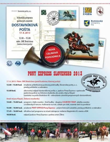 Rekonštrukcia historickej prepravy poštových zásielok sa uskutoční v sobotu 17. augusta 2013 (12.00 hod. – 15.00 hod.) pred budovou hlavnej pošty na Nám. SNP v Bratislave.