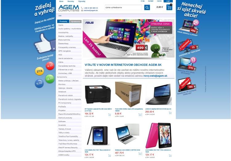 S novým e-shopom AGEM zavádza aj nové služby: 1/nákup na splátky, 2/ zľavy na nákup, 3/ dovoz tovaru v deň objednávky.