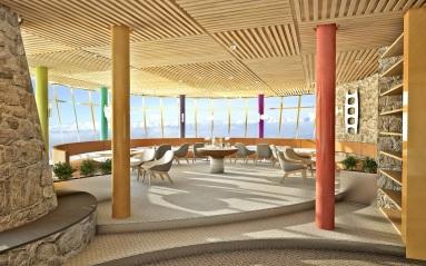 Vyhliadková reštaurácia sexkluzívnym 360 stupňovým panoramatickým výhľadom vnadmorskej výške 2004 m.n.m bude mať kapacitu 100 miest.