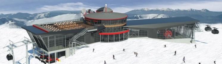 Rotunda teda prepojená vrcholová stanica lanovky Funitel aopláštená stanica kabíny Chopok Juh bude miestom oddychu pre návštevníkov aj počas nepriaznivého počasia.
