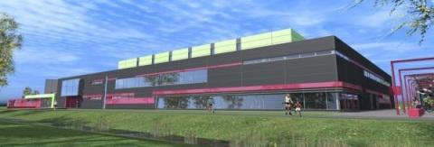 Active Zone bude pozostávať zdvoch, navzájom prepojených športových hál asamostatnej haly s detským centrom.