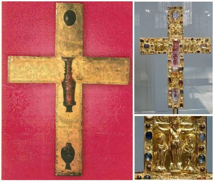 Kríž zo zlatého plechu zobdobia okolo roku 1050 n. l. máhodnotu asi milión eur. Reliéfny kríž dekorovaný rytím adrahokamami, polodrahokamami akryštálmi kremeňa má na prednej strane vyobrazenia Sv. Petra aPavla, Sv. Cosmu aDamiana avo vrchnej časti skupinu osôb zUkrižovania. Je to kríž typu crux gemmata srozmermi 41,1 cm a28,4 cm.