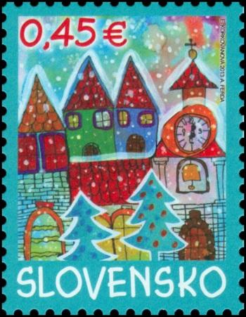 Vianočná poštová známka je obohatená o vôňu pečeného jablka. Kresbičku vlani poslala Erika Korkovánová zo Základnej školy vKolárove.