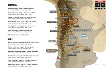 35. Rely Dakar bude šiesta po sebe na území Južnej Ameriky. Štart je 5. januára v argentínskom Rosario, koniec 18. januára v čílskom Valparaise. Trasa má 13. etáp a vyše 9 300 kilometrov.