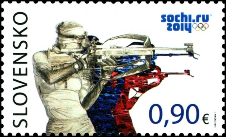 """Poštová známka """"XXII. zimné olympijské hry vSoči"""" s nominálnou hodnotou 0,90 € zobrazuje typický zimný šport – biatlon, ktorý kombinuje beh na lyžiach so streľbou zmalokalibrovej zbrane."""