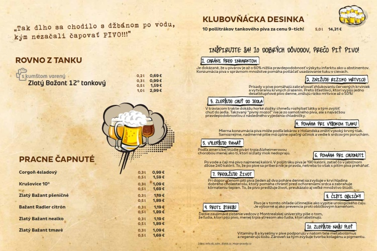 Ukážka z nápojového lístka - základná cena piva.