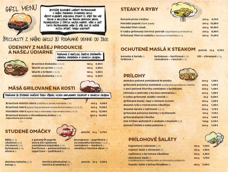 Ukážka z menu - hlavné jedlá.