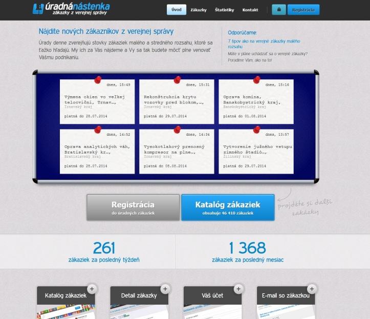Služba ÚradnáNástenka.sk je novou službou pre podnikateľov, ktorá má za cieľ vyhľadávať verejné zákazky arelevantne onich informovať svojich používateľov.