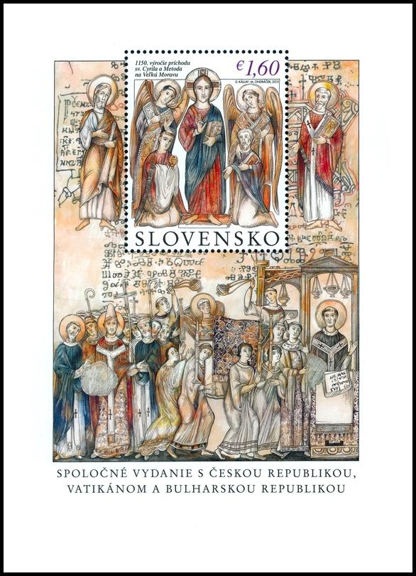 Na 1. mieste umiestnila poštová známka 1150. výročie príchodu sv. Cyrila a Metoda na Veľkú Moravu.