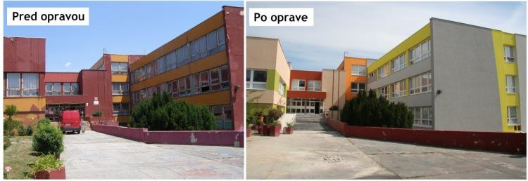 Základná škola Tbiliská pred a po rekonštrukcii