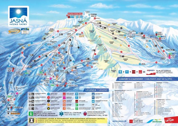 Zimná mapa: jasná, Nízke Tatry: Vleky a zjazdovky