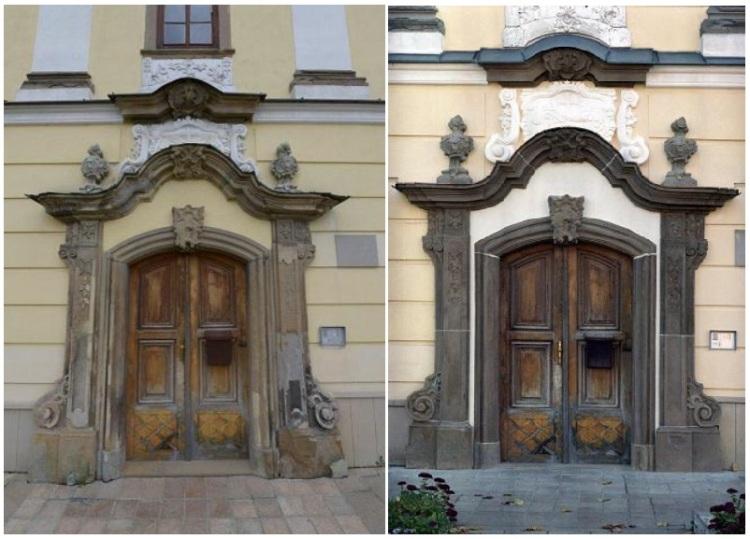 Portál v Levoči (vľavo: predtým, vpravo: po obnove)