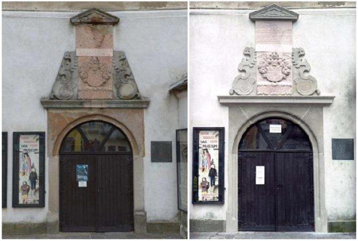 Portál na Urbanovej veži (vľavo: predtým, vpravo: po obnove)