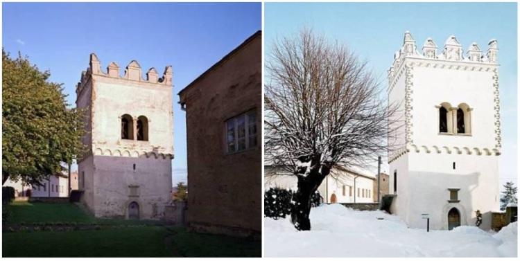 Renesančná zvonica v obci Vrbov (vľavo: predtým, vpravo: po obnove)