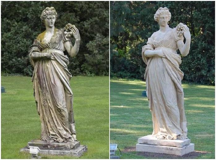 Sochy antických bohov v Piešťanoch (vľavo: predtým, vpravo: po obnove)