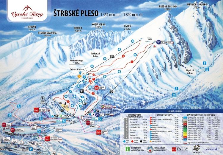 Zimná mapa: Štrbské Pleso (vleky, zjazdovky, služby)