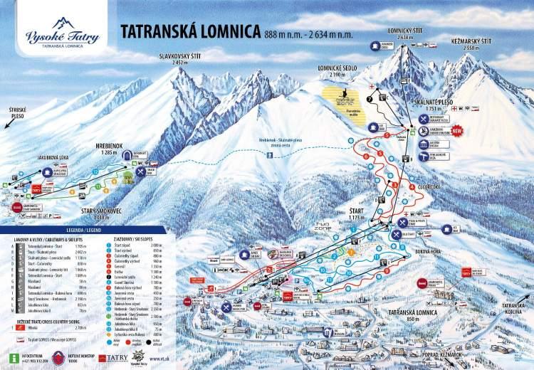 Zimná mapa: Vysoké Tatry, Tatranská Lomnica (vleky, zjazdovky, služby)
