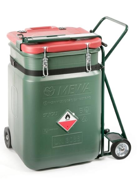 MEWA SaCon®: Bezpečnostný kontajner vyvinutý spoločnosťou MEWA zaručuje - pri použití v súlade s ustanovením - bezpečné skladovanie priemyselných utierok a maximálnu bezpečnosť pri preprave.