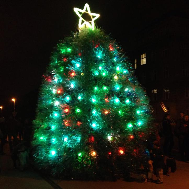 Najaktuálnejšou prácou tímu PET-MAT je vianočný strom z PET fliaš – PETree, ktorý od 1. decembra rozžiaril priestory pri Národnej technickej knižnici v pražských Dejvicích.