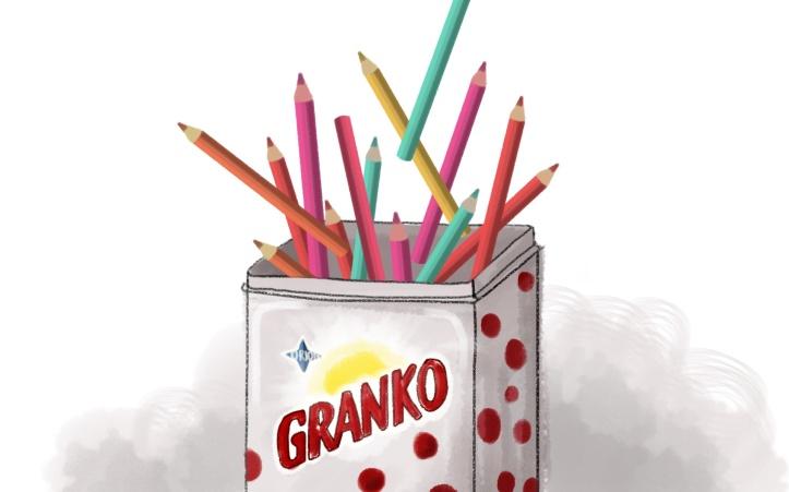 Populárna Granko dóza s bodkami sa dá využiť aj ako krabička na ceruzky.