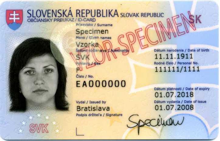 Vzor: Občiansky preukaz so zaručeným elektronickým podpisom